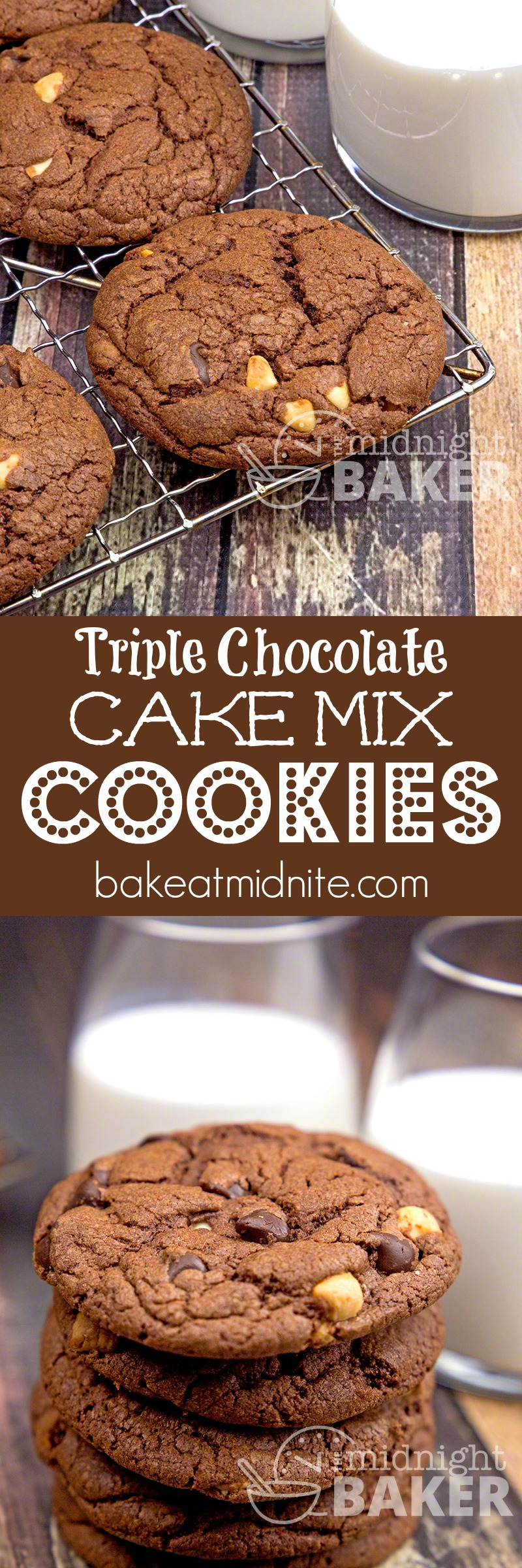 Triple Chocolate Cake Mix Cookies - The Midnight Baker
