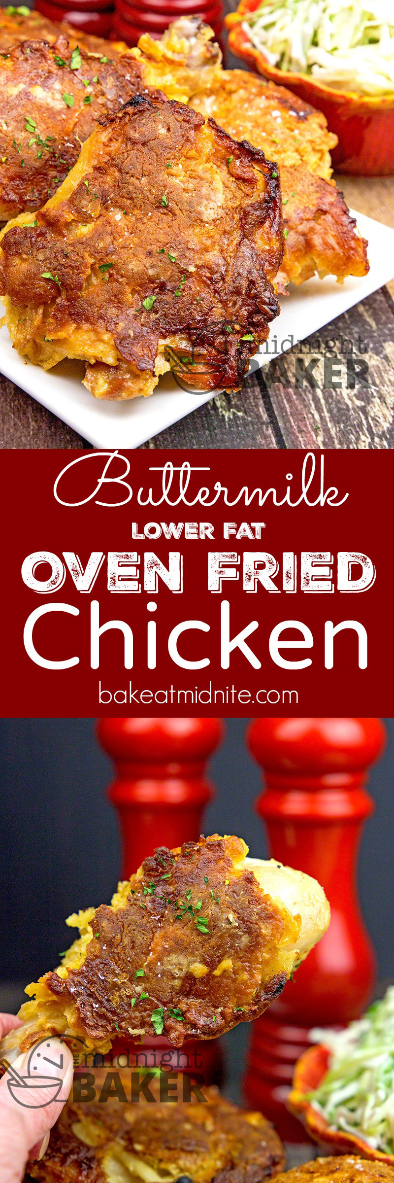 Oven fried chicken double dipped in buttermilk and a tasty coating. Only 1 tablespoon of oil for a whole tray! Naturally low fat!