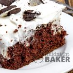 This poke cake is for lovers of chocolate cake and Oreo cookies!