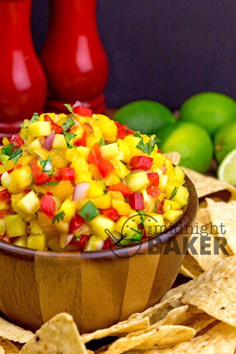 Versatile mango salsa goes well on chips, chicken or fish!