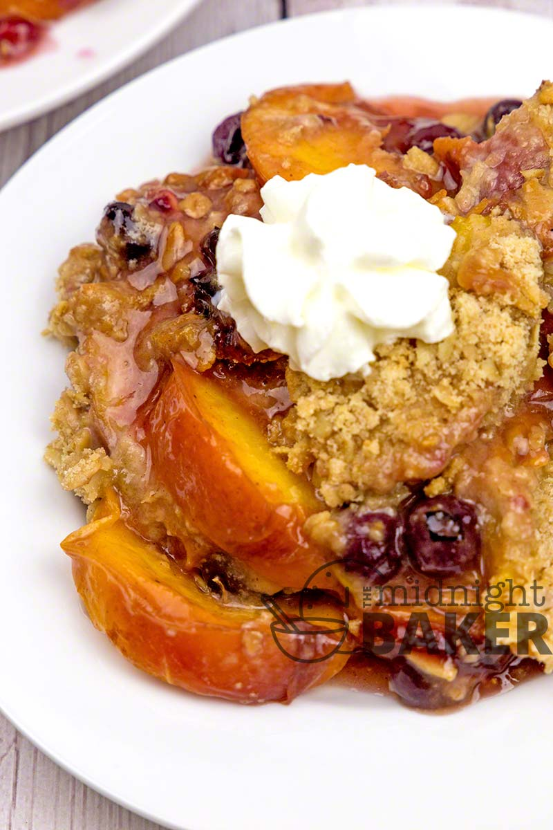Take advantage of summer fruits and berries to make this easy fruit crisp dessert.