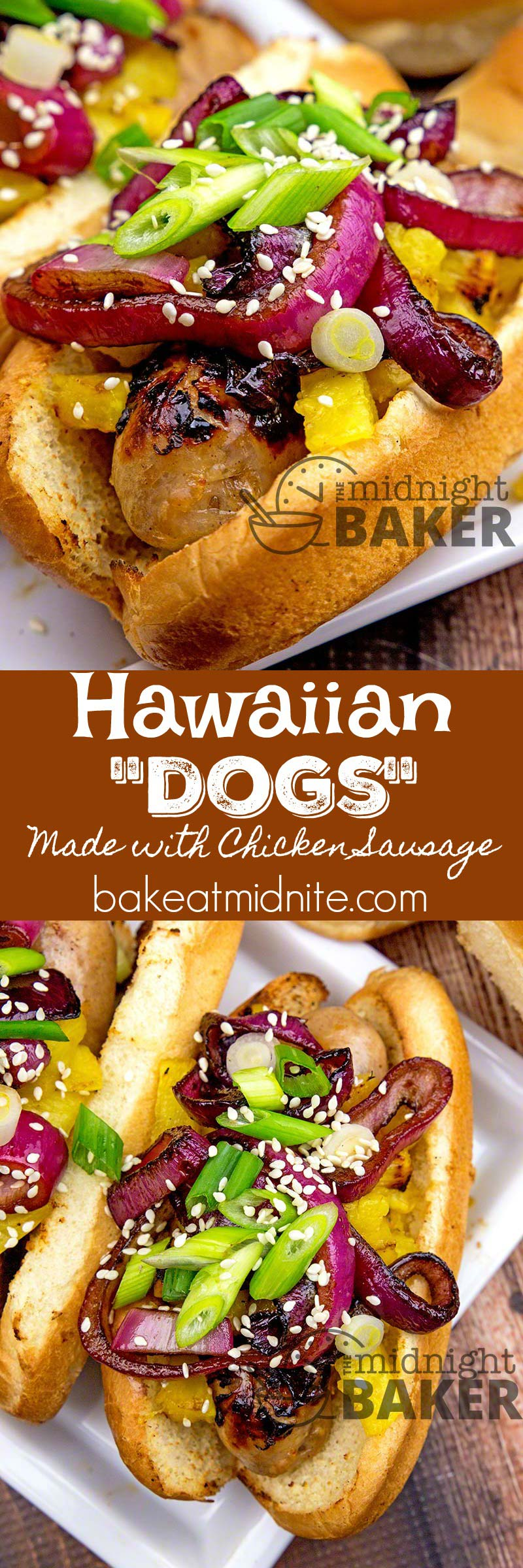"Make these great ""dogs"" with either franks or chicken sausage. Have a Hawaiian luau at your next cookout!"