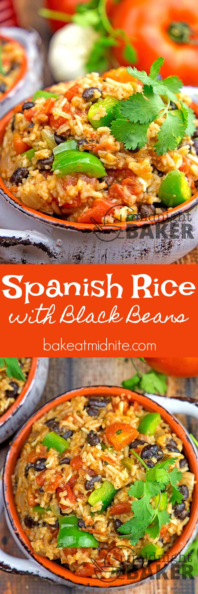 Delicious Spanish rice becomes a complete meal with the added black beans. Make it totally vegan too!