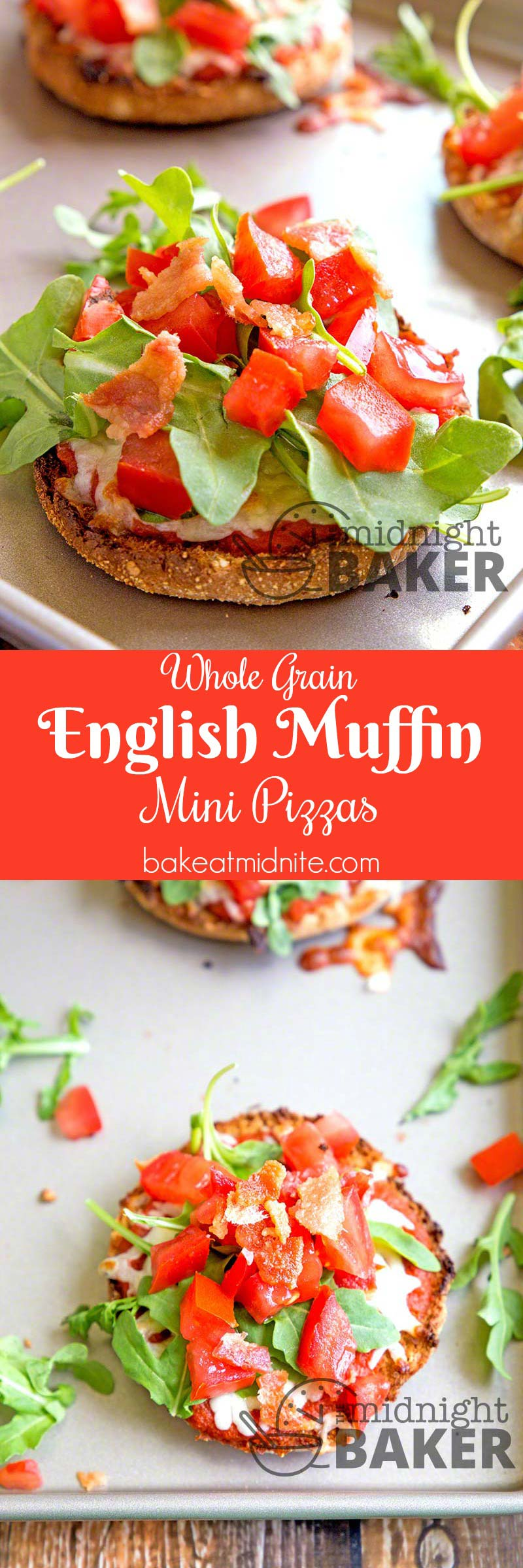 These mini pizzas are great for a quick healthy snack. Made with whole-grain English muffins.