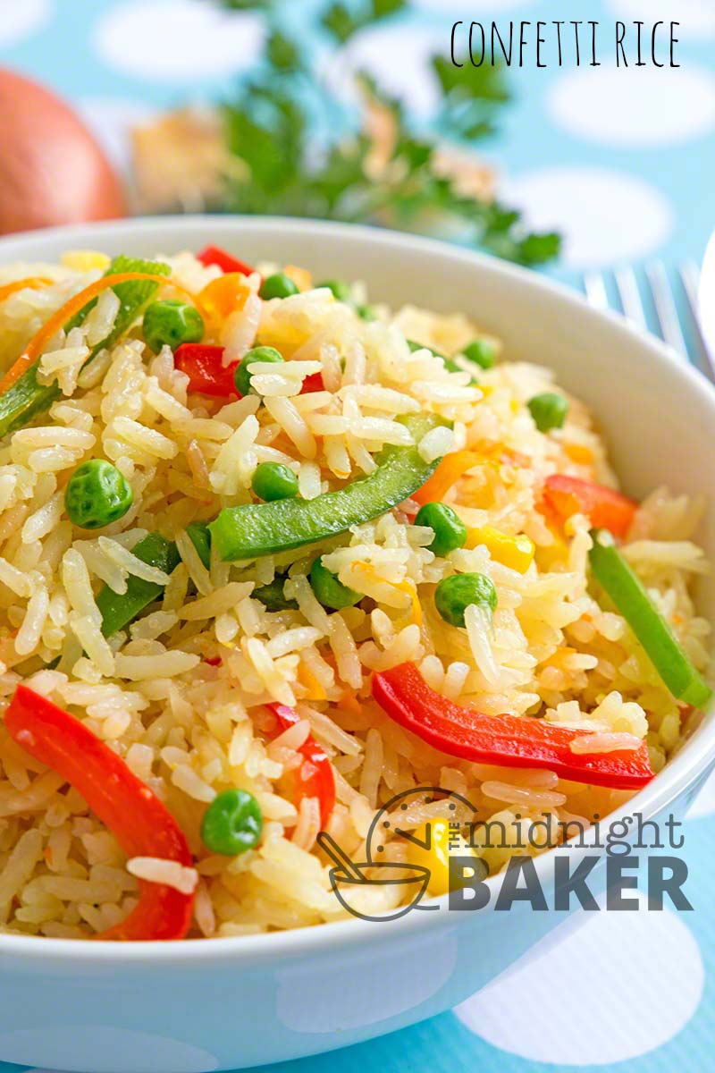 Confetti rice is a colorful and tasty side dish that can also double as a main dish