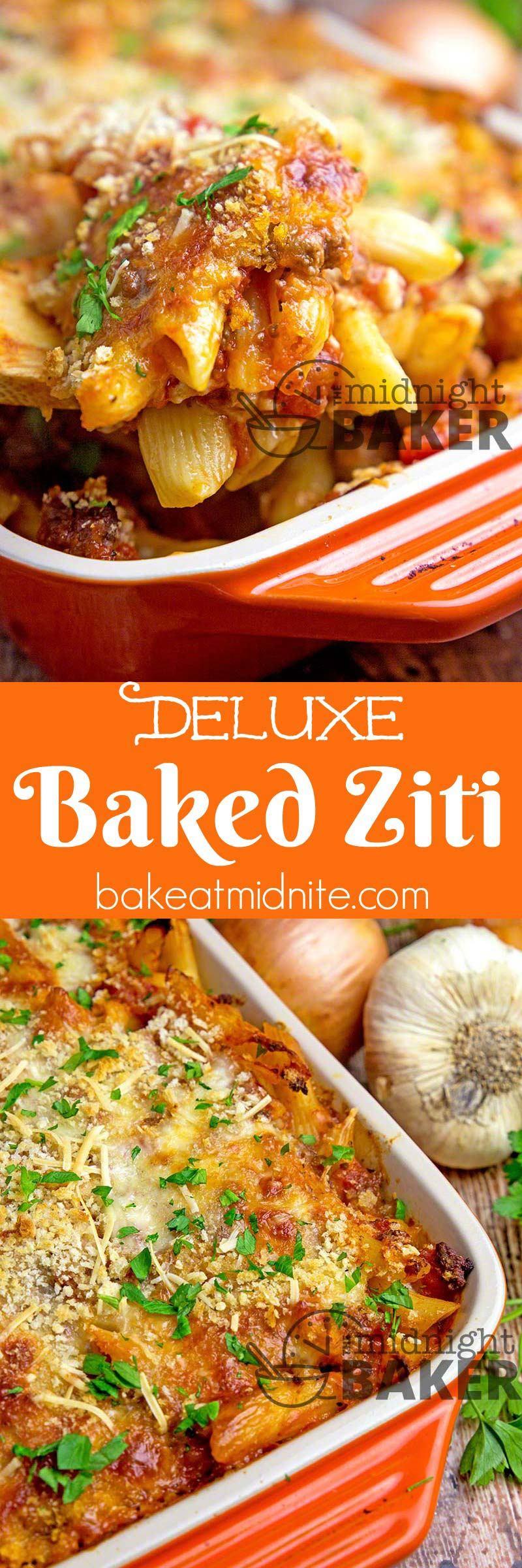This is baked ziti done even better! Three cheeses, ground beef and a crispy crunchy top!