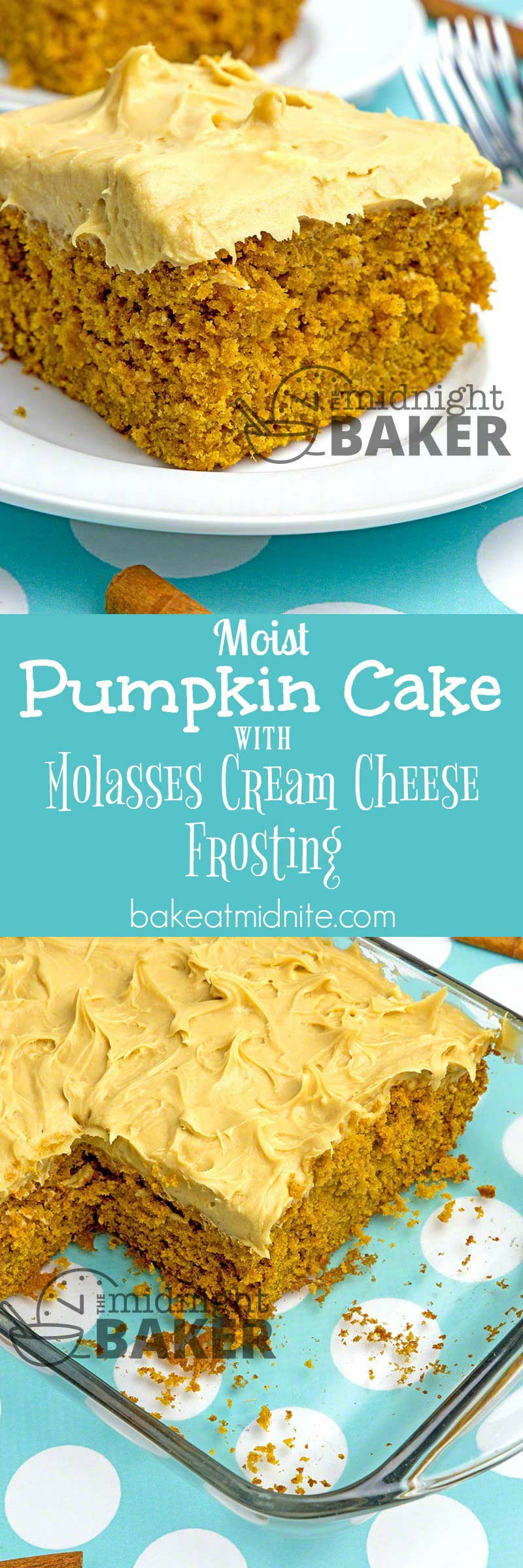 This moist pumpkin cake gets even better when topped with this delicious and delicately flavored molasses cream cheese frosting.