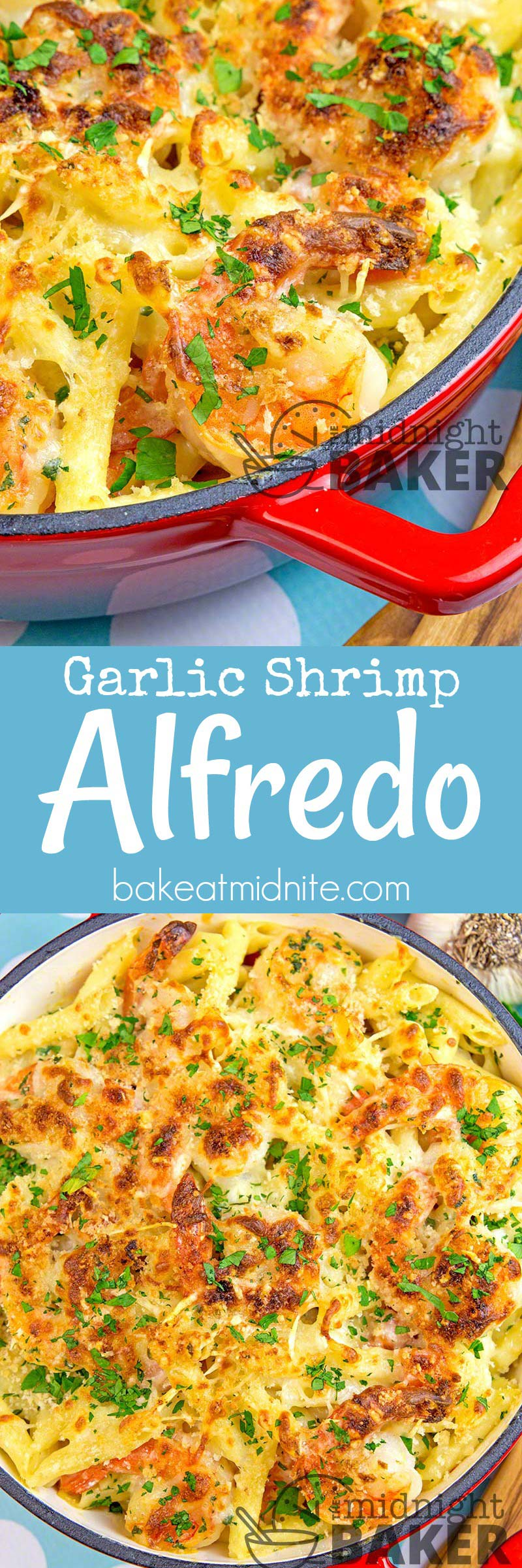 Garlicky shrimp and penne in a cheesy garlicky sauce. What could be better?