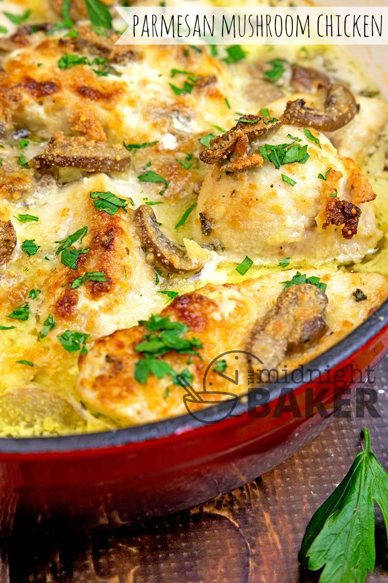 Quick and easy chicken in a creamy mushroom Parmesan sauce.