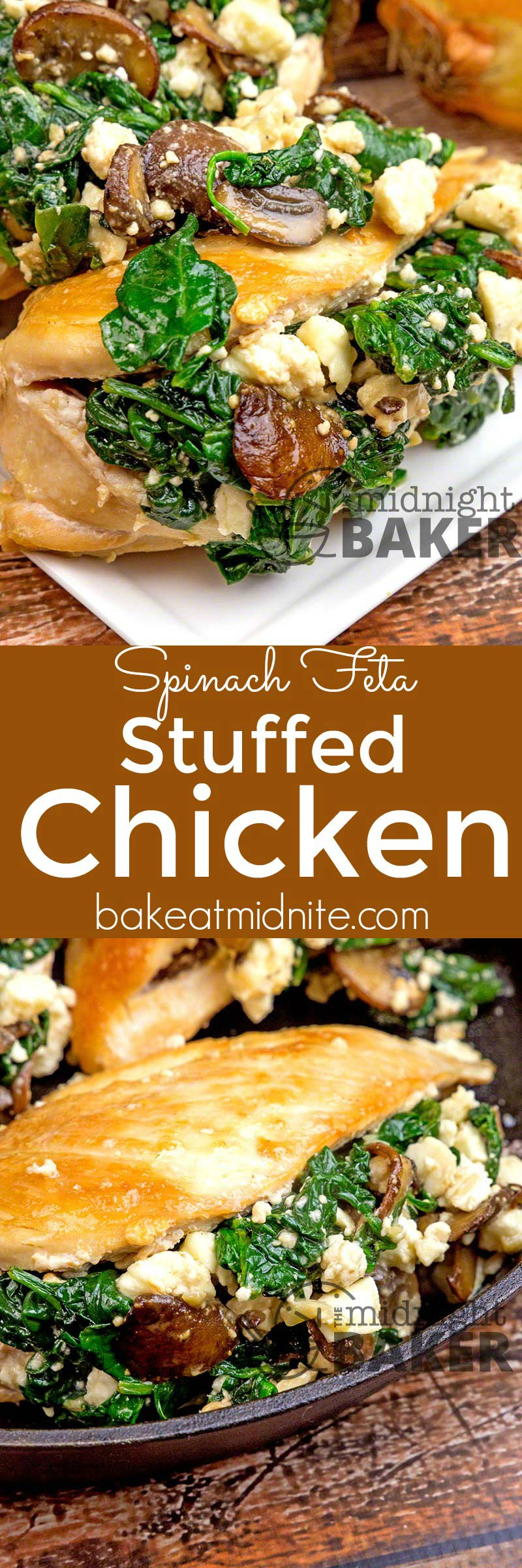 Baby spinach and tangy feta cheese is just the right stuffing for these chicken breasts.