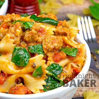 This quick and easy bow tie pasta with sausage is quick, easy and delicious!