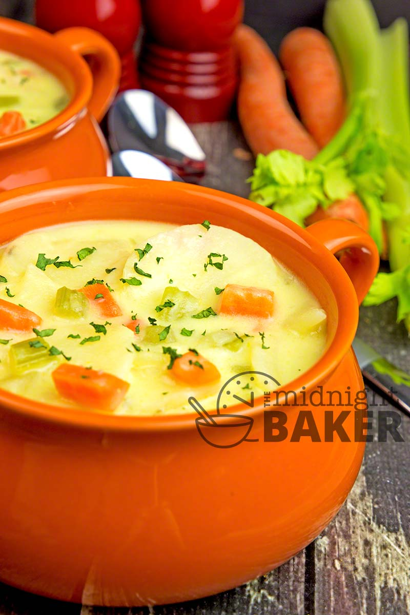 This potato soup is quick and easy for when you are pressed for time and it tastes great too.