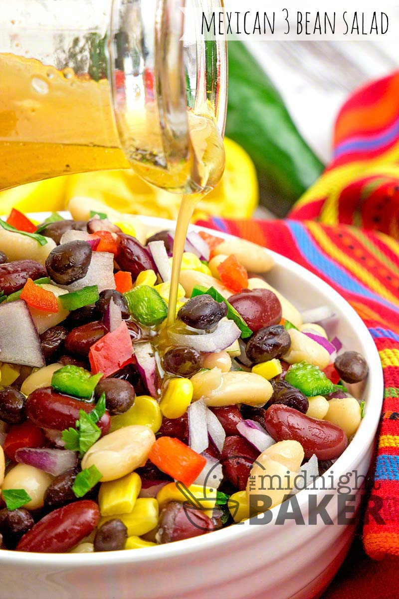 Simple bean salad with a Mexican flair. It's also a meatless and vegan meal.