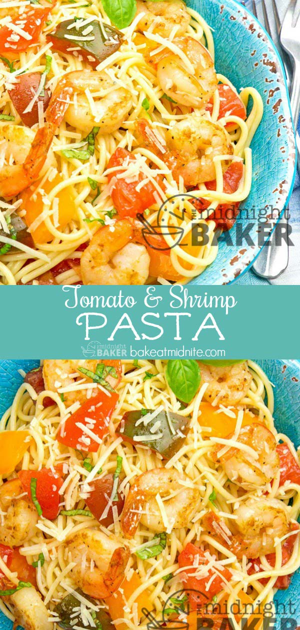 A tasty way to use up late-season tomatoes. Shrimp makes it even tastier, but leave them out and it's a wonderful meatless meal.