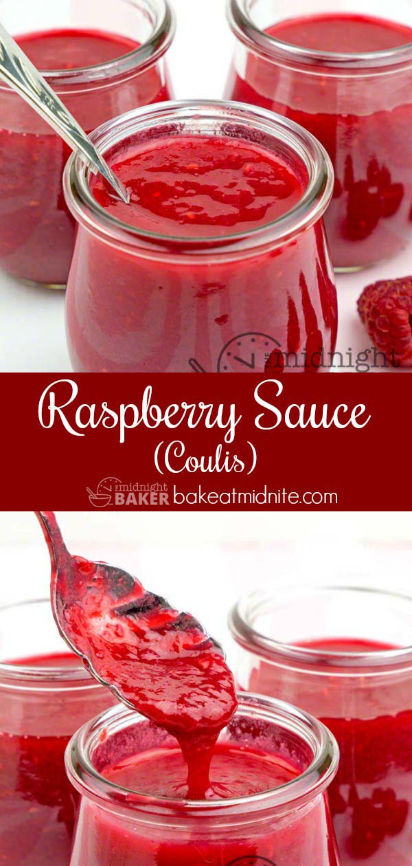 "Delicious and easy fresh raspberry sauce has an intense flavor. This is sometimes called ""coulis."""