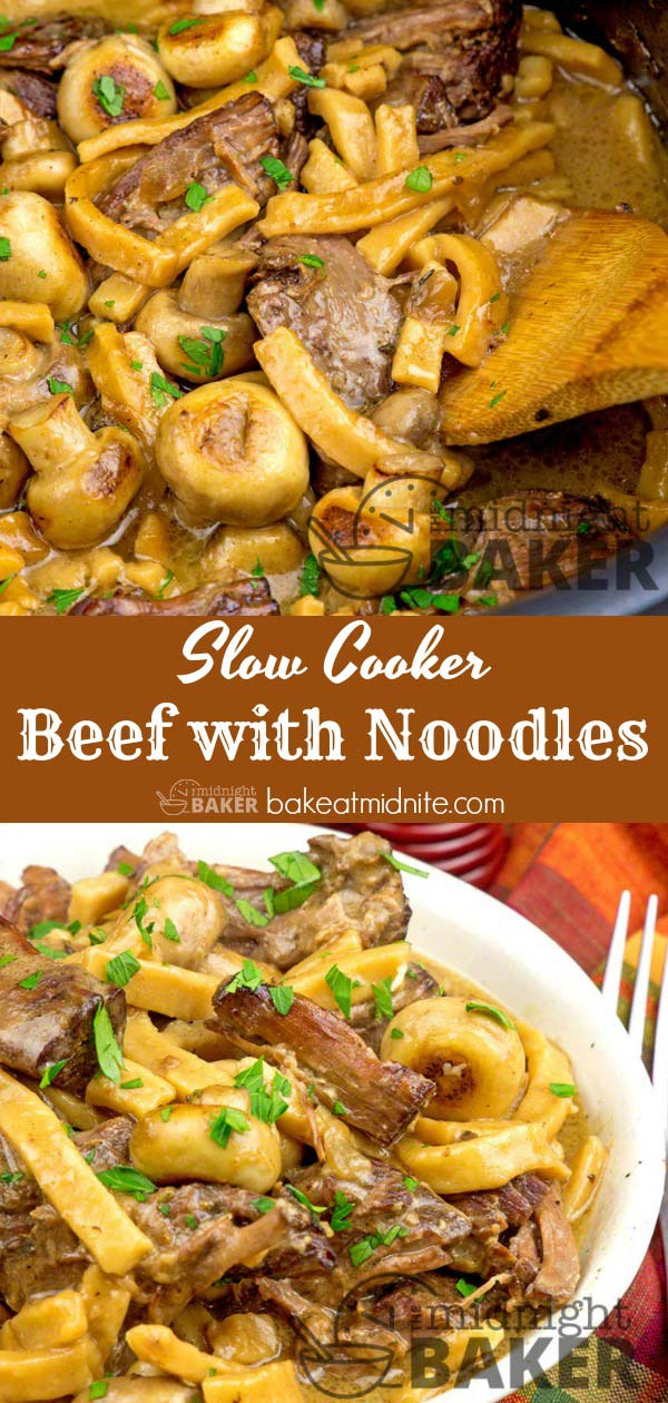 Tasty beef chuck steak and hearty noodles cooked to perfection in the slow cooker.