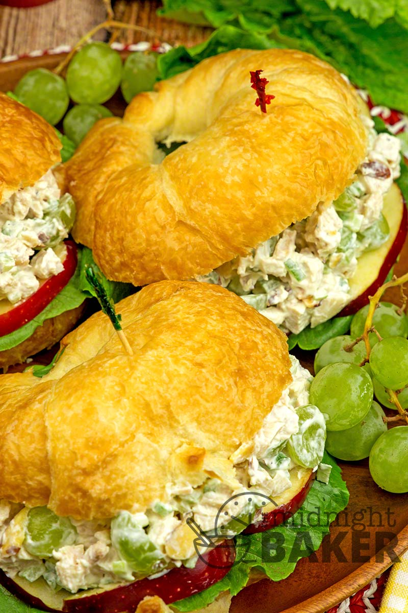 Fruit-filled chicken salad sandwiches on rich croissants. Perfect for a fancy lunch!