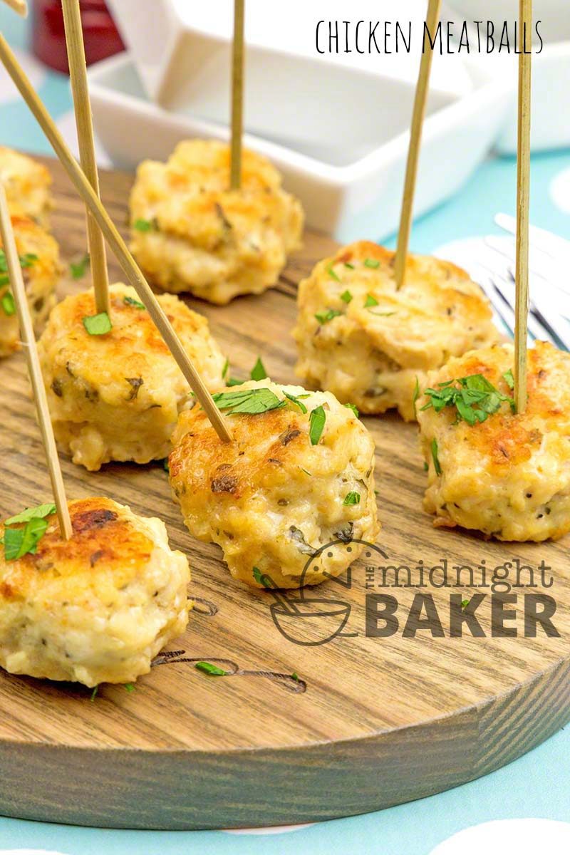 Make these chicken meatballs big or small. Made small they are the perfect buffet appetizer/
