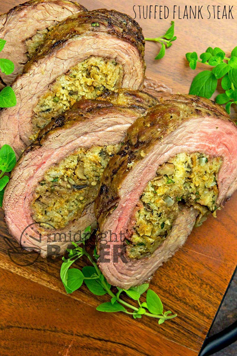 Easy and elegant stuffed flank steak is perfect for holiday parties or any time!