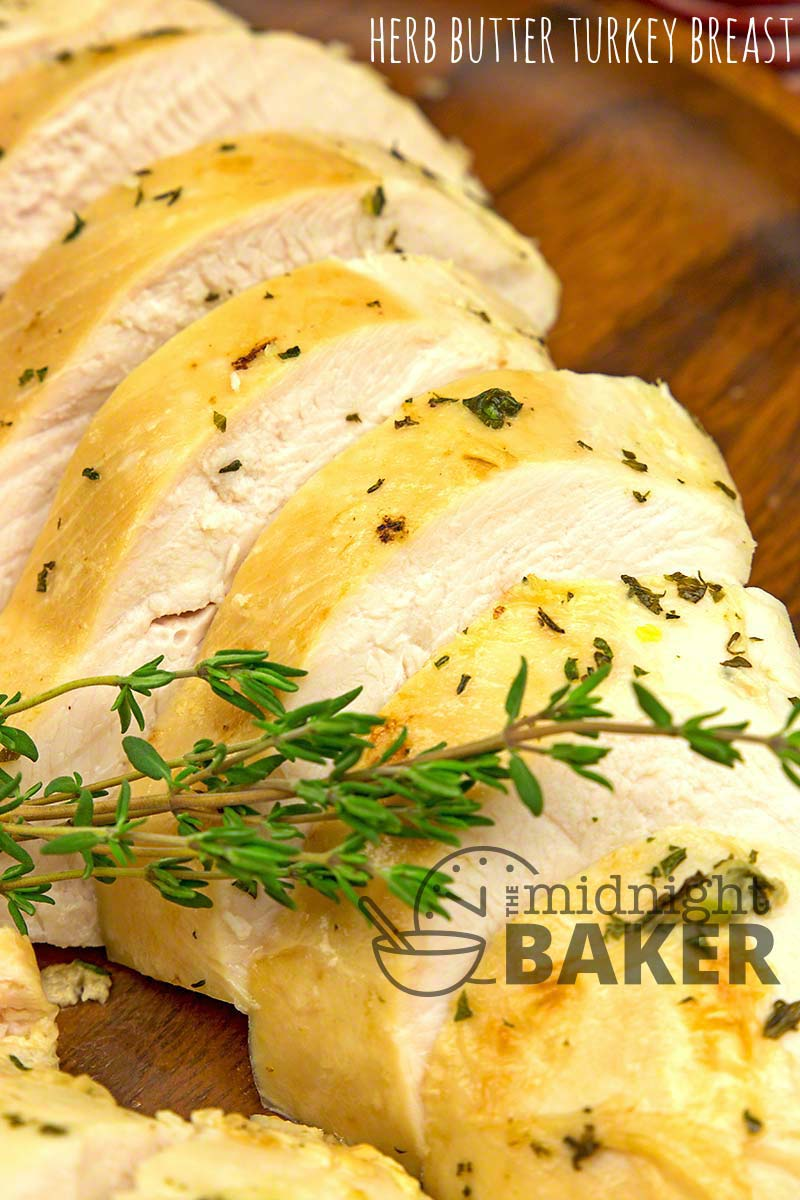Tasty turkey breast basted with butter and herbs.
