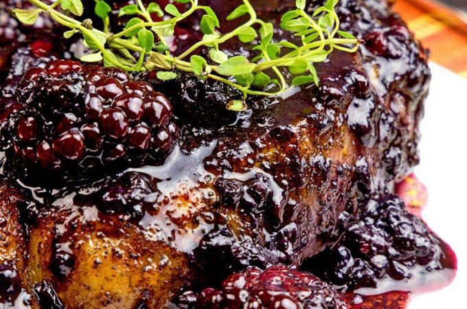 Delicious pork chops in a blackberry sauce is easy enough for every day!