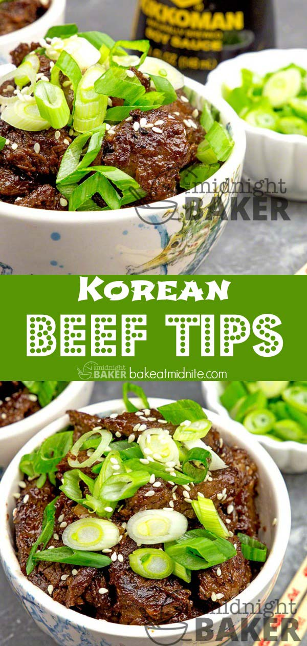 Delicious beef tips marinated in a Korean-style marinade makes a tasty and different dinner
