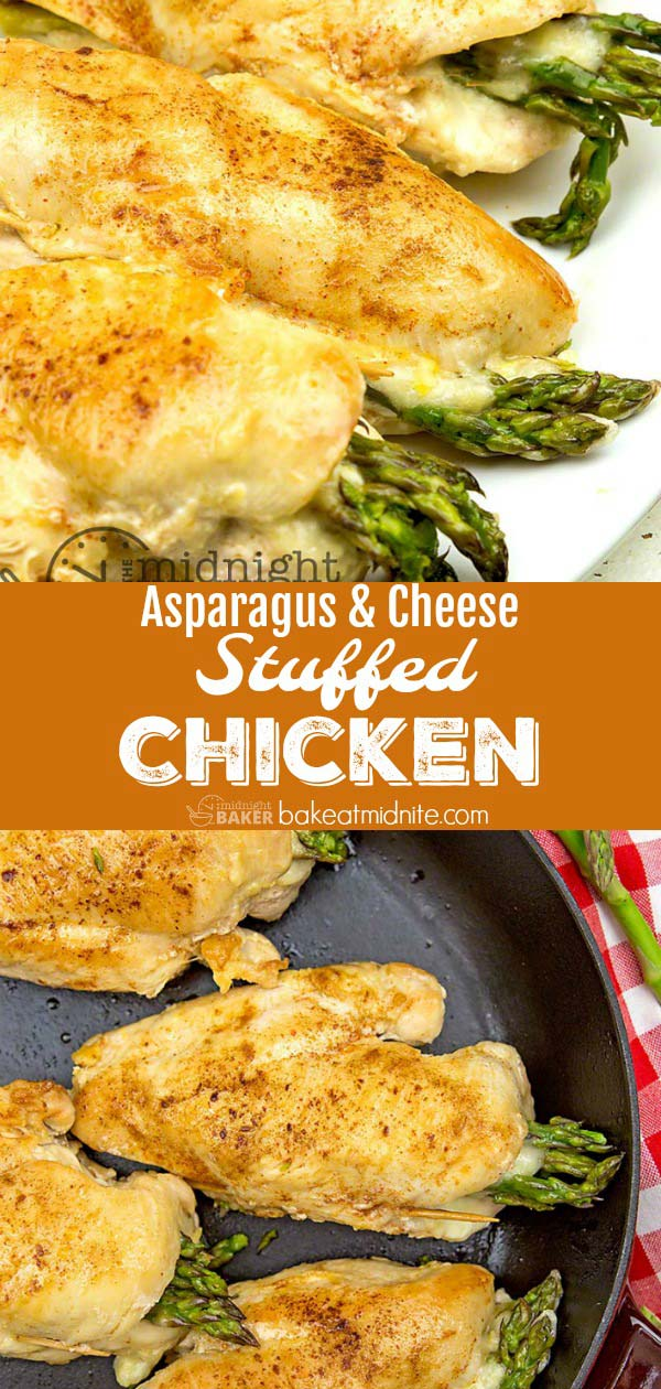 Asparagus and cheese stuffed chicken is a complete meal in one bundle