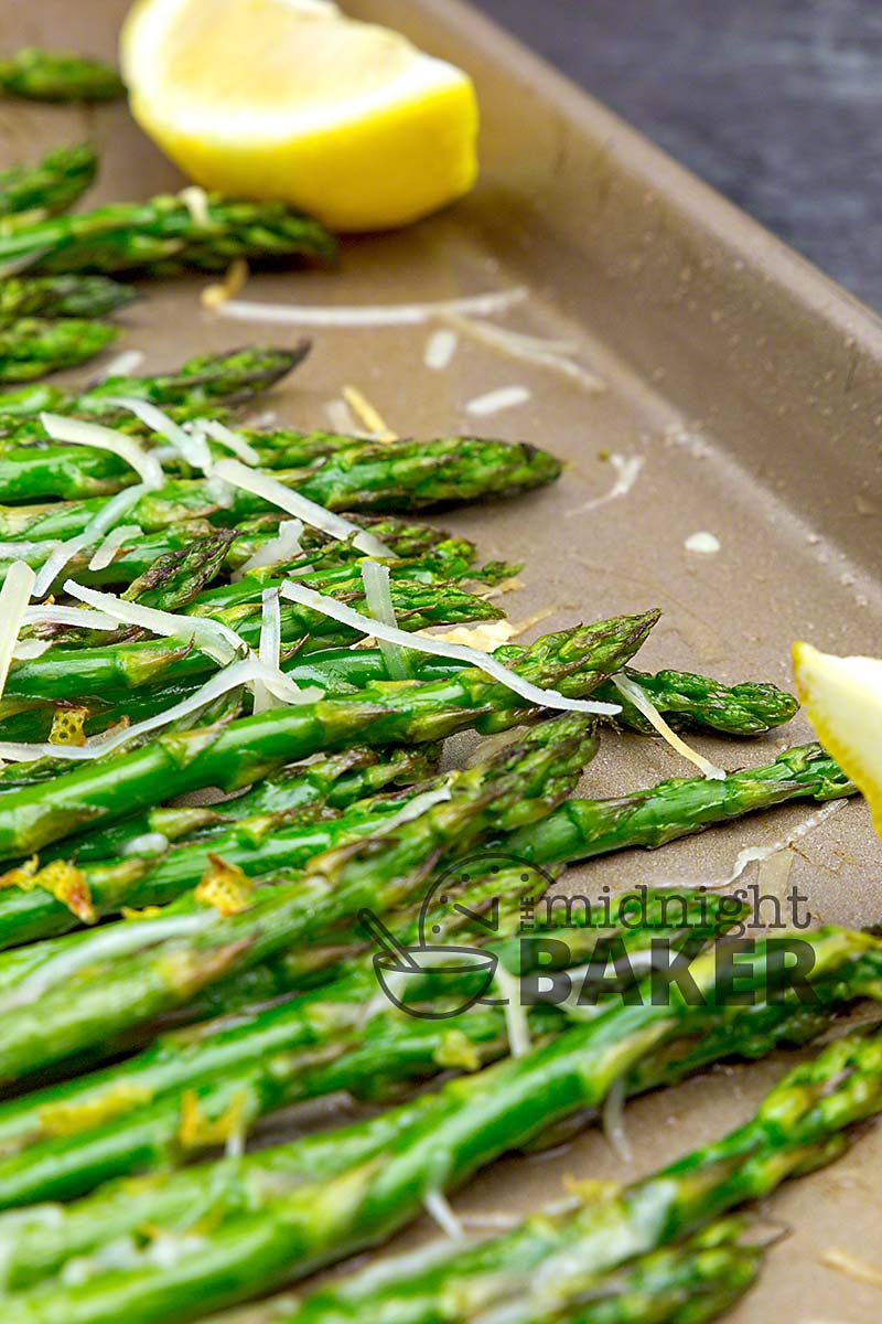 Lemon and Parmesan cheese are the perfect flavor for this roasted asparagus.