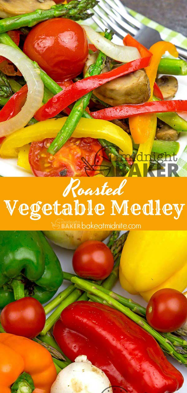An assorted medley of roasted vegetables the whole family will love.