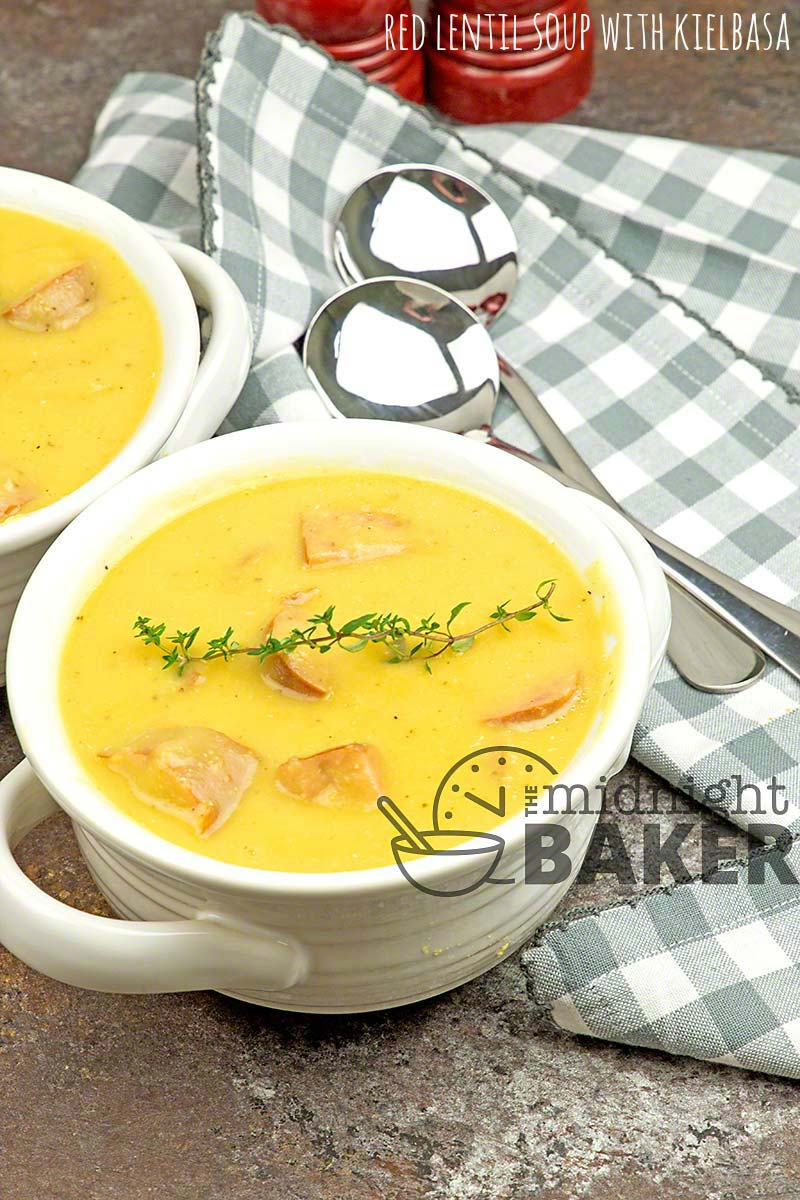 Red lentil soup is a comforting meal on a chilly night. Even better when you add kielbasa!