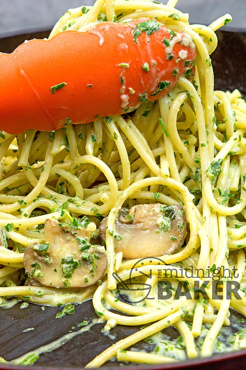 Pistou is the French version on pesto. This creamy herb sauce is perfect on pasta.