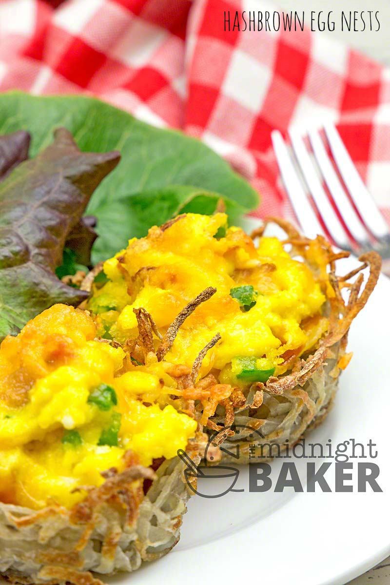 Soft scrambled eggs in a nest of hashbrown potatoes. Delicious and easy breakfast or brunch