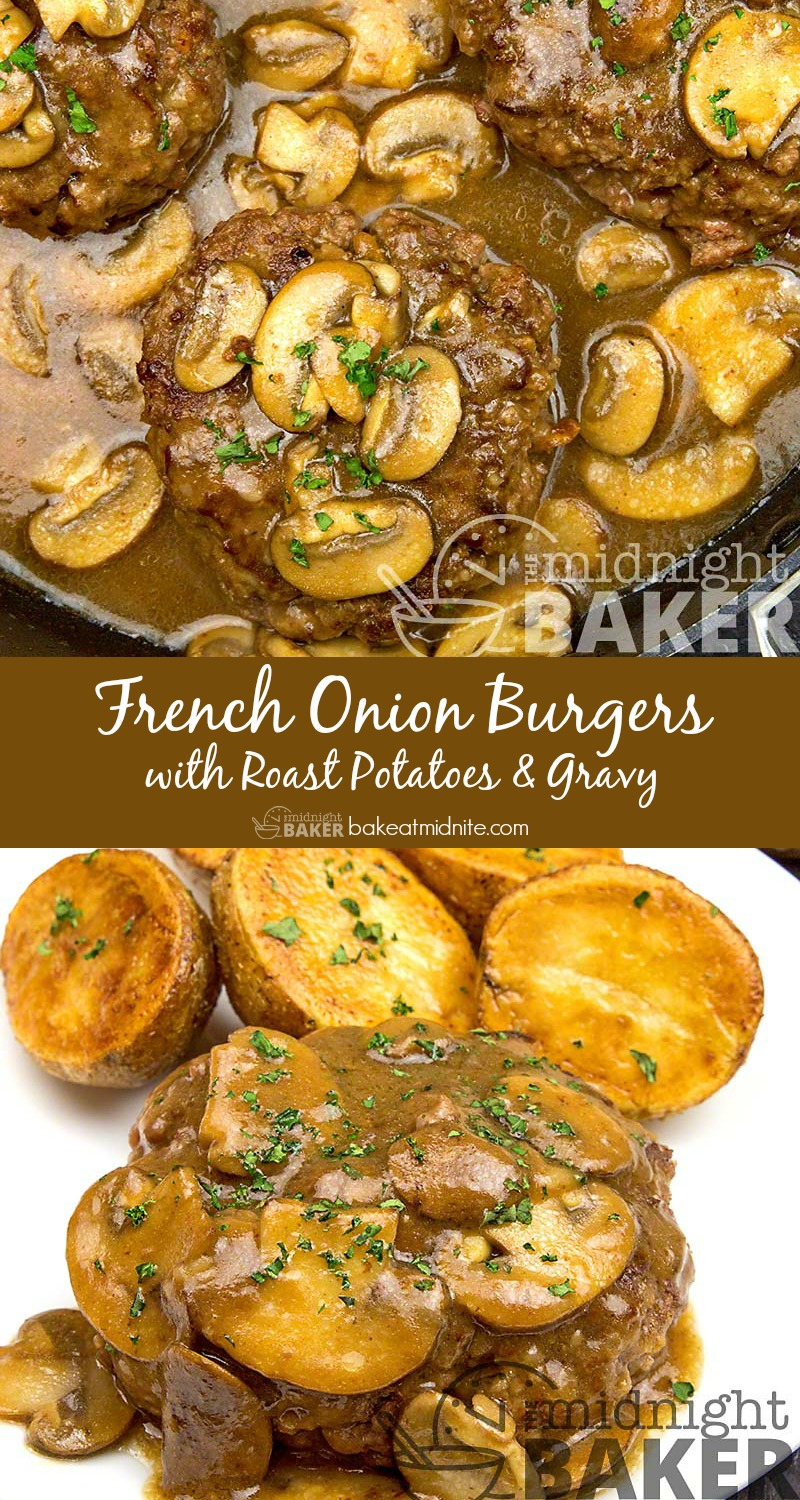 Classic comfort food! Delicious oniony burgers with gravy and roast potatoes. Nothing else necessary/
