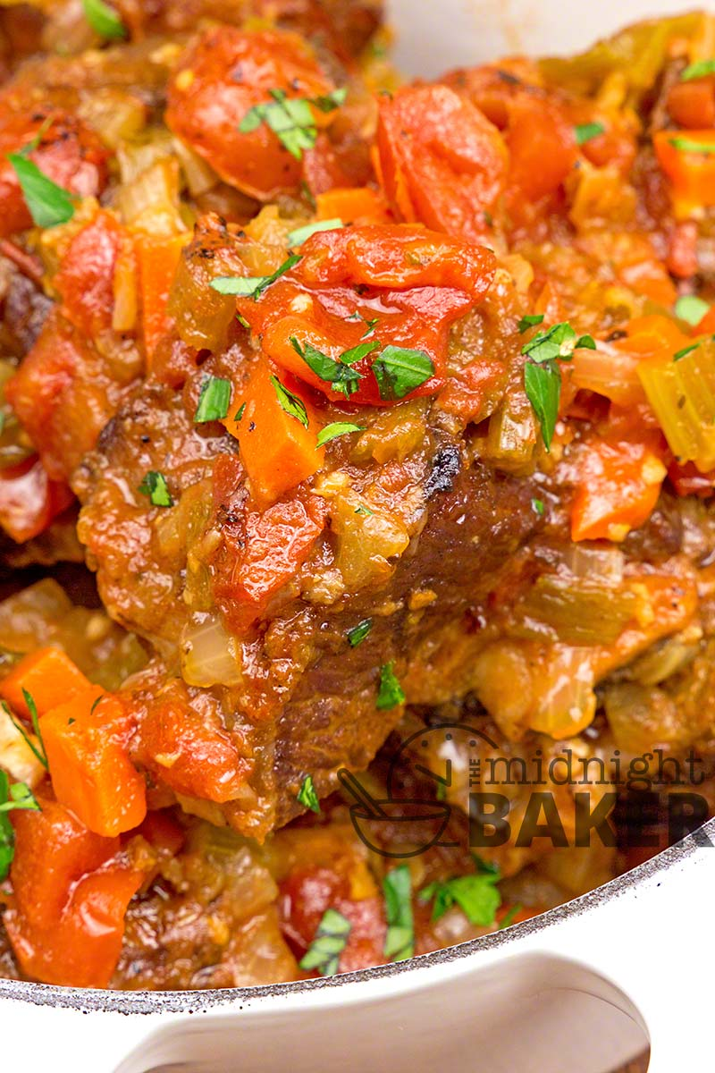 Slow oven roasting give this short rib ragout it's outstanding flavor.
