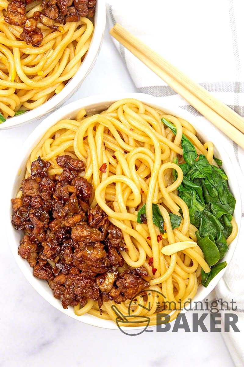 Skip takeout and make these dan dan noodles at home. Your choice of chicken or pork--delicious either way.