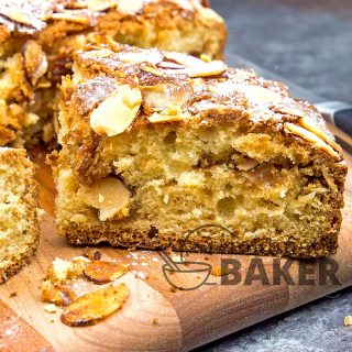 Scrumptious coffee cake with a deep almond flavor