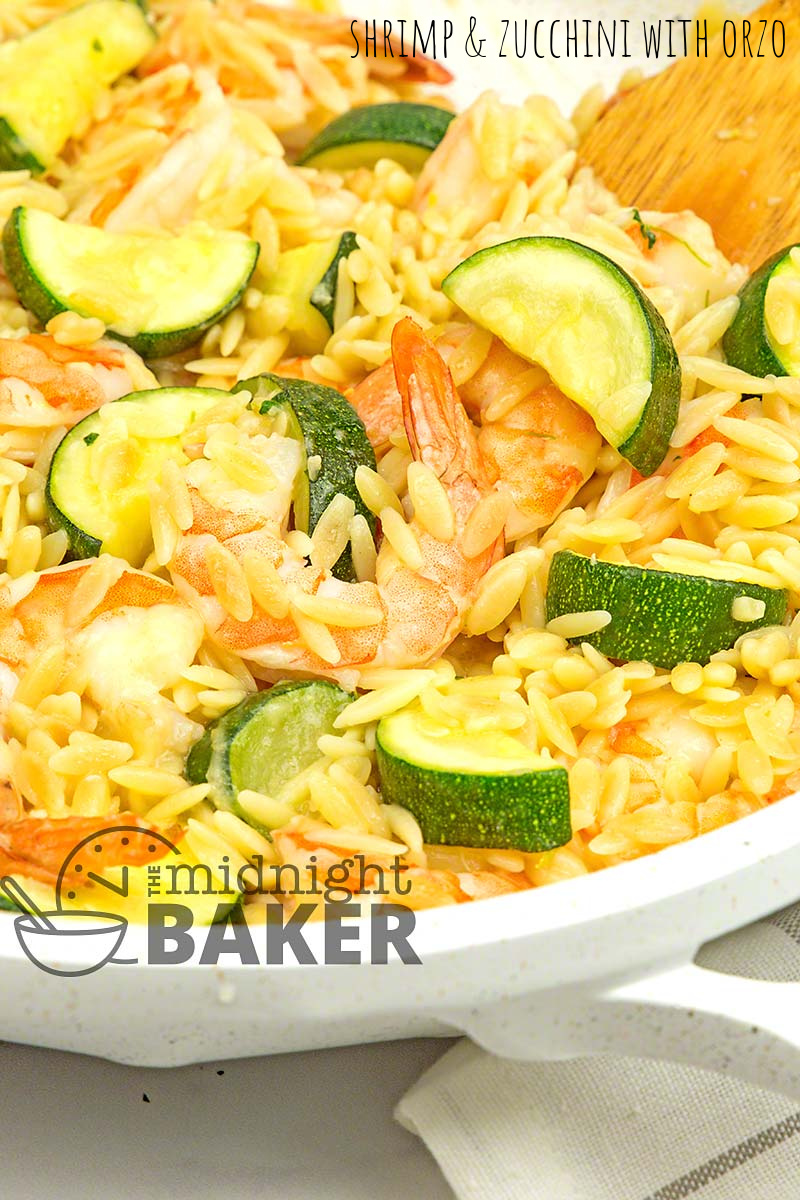 Shrimp and zucchini with orzo is a great one-pan meal.